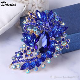 flower rhinestone resin brooch UK - Donia jewelry European and American popular Brooch flower large birthday Brooch gift Brooch coat scarf accessories