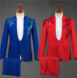 $enCountryForm.capitalKeyWord Australia - wedding suits for men blazer Stand collar sequin costume slim masculino latest coat pant designs chorus groom clothes red blue