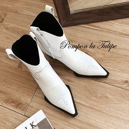 boot carving 2019 - BHS 9011158 British Retro Pointed Toe Carving Hollow Out Chic 4.5CM Chunky Heel Genuine Cow Leather Stylish Women Martin
