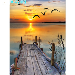 SunSet lake painting online shopping - Full Round Drill D DIY Diamond Painting quot Lake Sunset quot Embroidery Cross Stitch D Home Decor Gift