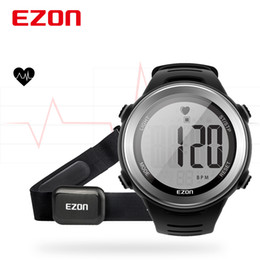 Discount heart calendars EZON Men Watches T007 Heart Rate Monitor Digital Watch Stopwatch Running Sports Wrist Watches with Chest Strap Relogio Masculino