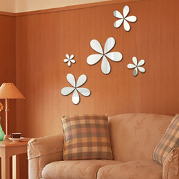 Flower mirrors acrylic online shopping - Factory direct selling flower acrylic mirror wall stickers creative D vertical cartoon wall stickers