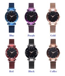Großhandel Frauen Wohlergehen 2019 Damen 6 Farbe Starry Sky Diamant Mode Rom Zifferblatt Uhr faul Quarz Uhr Magnetband Magnet Uhr