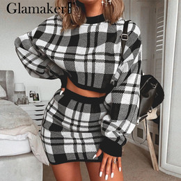 Wholesale long sleeve mini dresses for sale - Group buy Knitted plaid two piece suit sexy dress Women autumn elegant mini short dress Winter long sleeve crop sweater
