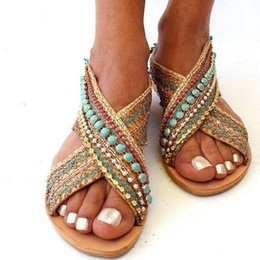 ethnic fabric shoes NZ - Summer Sandals Women's Shoes Mujer Female Beach Flat Sandals Women Flat Bohemian Handmade Beaded Ethnic Plus Size