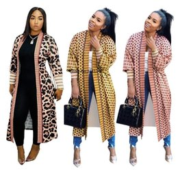 Wholesale long maxi trench coat for sale - Group buy 2020 Autumn Winter cloak Poncho Plaid Print Full sleeve women Maxi Long coat outerwear Trench vintage Cardigan overcoat