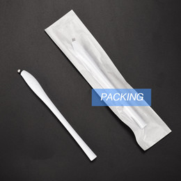 permanent makeup eyebrow lip NZ - Disposable Microblading Pens with 18U Pins Permanent Makeup White Needles Eyebrow Embroidery Blades for eyelash lip