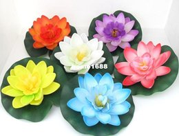 white floating lotus flower artificial UK - Artificial PE Foam Lotus flowers Water Lily Floating Pool Plants Wedding Decoration B98