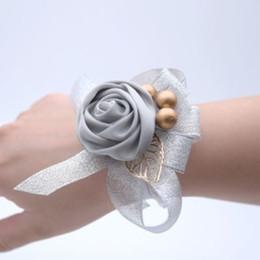 $enCountryForm.capitalKeyWord Australia - Wedding Bride Imitation Flower Bracelet Bridal Decorative Wrist Wreath Wedding Silver Ribbon Bow Brooch 100 Pieces DHL