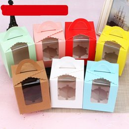Digital bracket online shopping - 1 Case Window Cookie Boxes Glass Cake Handle Box Square Pure Color Baking Packing Muffin Case Film Bottom Hollow Out Bracket yfb1