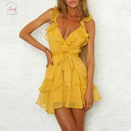 Casual white ruffled dress beaCh online shopping - Women Dress Green Sexy Yellow Chiffon Casual Dress Bohemian Beach Party Dress Solid Ruffles Dressvestidos Drop Shipping