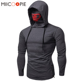 face mask hoodies Canada - Mask Skull Hoodie Men Sweatshirt Hood Streetwear Motorcycle Face Pullover Pure Color Tracksuits Loose Hooded Sweatshirt Tops