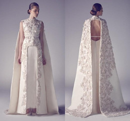 Zuhair murad long back online shopping - Arabic Zuhair Murad Evening Dresses High Neck Long Prom Gowns Applique Sheath Pageant Split Front Best Formal Evening Dress for Weddings
