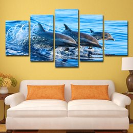 $enCountryForm.capitalKeyWord UK - HD Printed 5 Piece Blue Ocean Jumping Dolphin Wall Pictures for Living Room Modern Posters and Prints Free Shipping