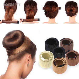 Discount french dishes - MOONBIFFY Synthetic Wig Donuts Bud Head Band Ball French Twist Magic DIY Tool Bun Maker Sweet French Dish Made Hair Band