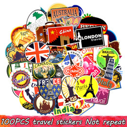 Discount europe laptops - 100 PCS Travel Stickers Decals for Home Party Decor DIY Laptop Luggage Water Bottle Postcard Skateboard Bike Car Fridge