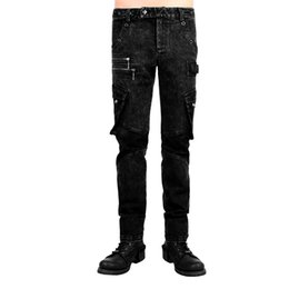 $enCountryForm.capitalKeyWord Australia - Steampunk Men's Punk Bag Leather Men's Trousers Good Elastic Cotton Loose Fit Black Pants
