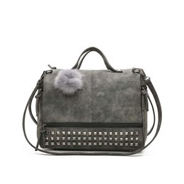 $enCountryForm.capitalKeyWord Australia - good quality Nubuck Leather Ladies Handbags Rivet Larger Women Bags Hair Ball Shoulder Bag Motorcycle Messenger Top-handle Bags