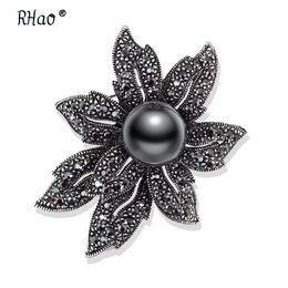 Vintage Flower Brooches Australia - Jewelry Vintage scarf broches pin imitation gun black pearl rhinestones Flower brooch Elegant Women's Clothing Accessories