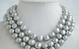Threaded Pearls Australia - necklace Free shipping ++gray screw thread freshwater pearl necklace 50inch NEW