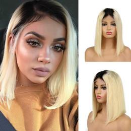 $enCountryForm.capitalKeyWord Australia - Ash Blonde Ombre Bob Wig Human Hair Wigs Short Straight Lace Front Wig Virgin Burmese Hair Full Lace Wig Two Tone #1B #613
