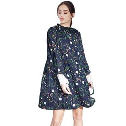 Discount dresses lady frock Women Dress Ladies Elegant Floral Chiffon Dress  Stand Collar Loose Female Casual ee17a6114