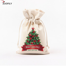 $enCountryForm.capitalKeyWord Australia - New Hot 16x23.5cm Christmas Candy Bag Canvas Gift Bags Santa Deer Elk Ride New Year Xmas Best Gifts For Kids Event Party Decor