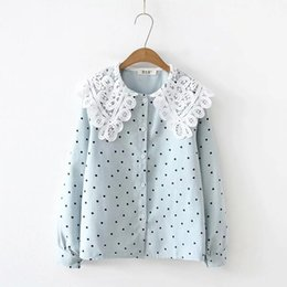 Women's Clothing Sweet Lolita Shirt 2019 Mori Girls Autumn Spring Japanese Style Peter Pan Collar Long Sleeve White Red Lace-up Blouse