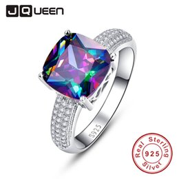 mystic topaz wedding ring sets UK - JQUEEN Gem Stone 7.3ct Genuine Rainbow Fire Mystic Topaz Ring Pure Solid 925 Sterling Silver Wedding Band Rings for women