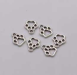 wholesale paw print Australia - 150pcs lot Zinc Alloy Antique Silver 11x13mm Hollow Paw Print Charm Pendant DIY Jewelry Fit Bracelet Necklaces Jewelry Accessories Best Gift