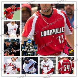 baseball jersey number stitching Canada - Louisville Cardinals Custom 2019 CWS Patch Any Name Number White Red Black #13 Alex Binelas 43 Logan Wyatt Stitched NCAA Baseball Jersey