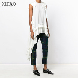 plus size hippie clothing NZ - Xitao Sleeveless Irregular White T Shirt Sexy Women Clothing O Neck Patchwork Ruffles Hem Girls Hippie Chic T-shirt New Ljt3008 Y19072001
