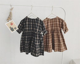 children straight gown styles UK - Newest Spring Little Girls Dresses Linen Cotton Fabric Plaid Girls Dress Long Sleeve Autumn Round Collar A-line Princess Party Child Dresses