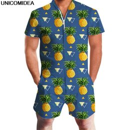 Fitted Jumpsuits Australia - Pineapple Print Men Romper Hawaii Jumpsuit Romper Summer Hoiday Playsuit Overalls One Piece Slim Fit Beachwear Casual Men's Sets