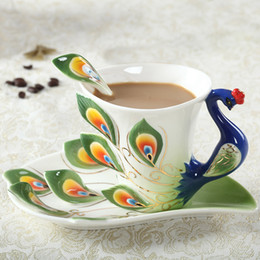 $enCountryForm.capitalKeyWord NZ - 1 Pcs Peacock Coffee Cup Ceramic Creative Cups Bone China 3d Color Enamel Porcelain Cup With Saucer And Spoon Coffee Tea Sets J190716
