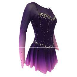 Ingrosso vestiti di prestazione Pattinaggio su ghiaccio Dress Girls' LIU HUO figura vestito delle donne di pattinaggio Bambini Concorso Strass Stretch tessuti viola