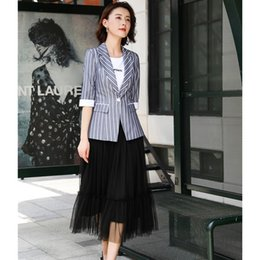 women working skirt suits Australia - Casual Blue Striped Blazers Women Business Suits with Skirt and Jackets Sets Ladies Work Wear Clothes Half Sleeve SH190929