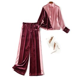 $enCountryForm.capitalKeyWord Australia - New 2019 Autumn Winter Womens Velvet Pants Suit Color Block Turtleneck Pink Tops Bouse Long Trouesrs Casual Two Piece Set Green