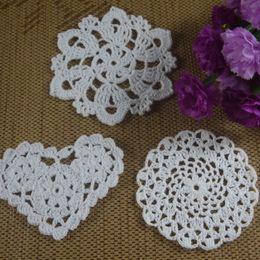 $enCountryForm.capitalKeyWord UK - Wholesale 3 Design Crochet pattern Doily Coaster Round hand made cup mat Pad Applique Pink White Ecru 8-12CM 30pcs LOT