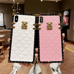 Iphone Plate Metal Case Australia - Luxury retro lambskin lattice case for iphone 6 6sp x xs xr 7 8plus for iphone xsmax fashion square plating metal soft Silicon Phone Cover