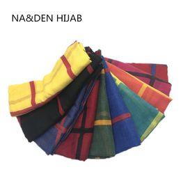 Cotton Viscose Scarves Australia - Hot sale plaid pattern print cotton viscose muslim basic hijab women scarf wraps fashion bandana shawls 10pcs lot fast shipping