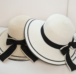 29612e42eac44 2019 Hottest Summer Beach Hats Straw Shadeable Wide Brim Hats Khaki Bow-Tie  Women Large Floppy Hats