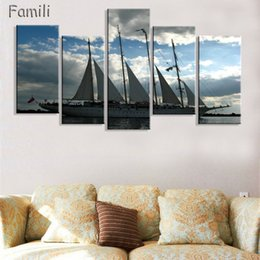 unframed canvas prints Australia - 5Panel Sailing Boat Canvas Arts Wall Pictures For Living Room Modern Poster and Printed Wall Canvas Art Home Decor Unframed
