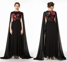 mother groom dresses jewel neck Australia - Stunning Black With Red Embroidery Mother of Bride Groom Cape Dresses A Line Jewel Neck Pleats Long Evening Prom Gowns Cheap CPS1476