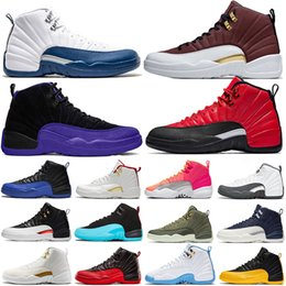 girls football hot NZ - New Arrival REVERSE FLU GAME DARK CONCOR 12 12s Basketball shoes Reverse Taxi Hot Punch FIBA Bulls Gym Red Mens Trainers Sports Sneakers