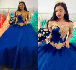 off shoulder t shirt for girls NZ - Royal Blue With Gold Lace Prom Pageant Dresses Ball Gown For Sweet 16 Girls Off Shoulder Organza Lace-up Quinceanera Dress Vestidos De Novia