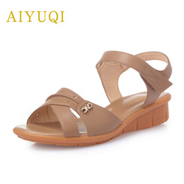 $enCountryForm.capitalKeyWord Canada - AIYUQI 2018 new summer women's genuine leather sandals flat casual middle-aged mother sandals plus size 42#43#44# shoes women