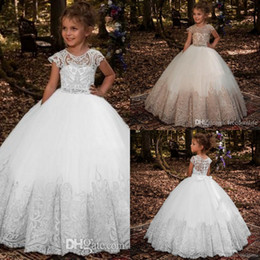 wedding gold crystals Australia - 2019 Princess Gold Lace A Line Flower Girls Dresses For Wedding Crystal Beads Sash Girls First Communion Special Occasion Dress