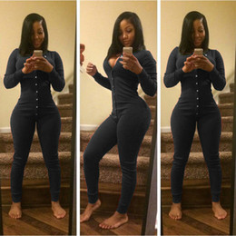 $enCountryForm.capitalKeyWord NZ - Women Sexy Playsuit Long Sleeve soft and comfortable Button V Neck Party Clubwear Jumpsuit L50 0213