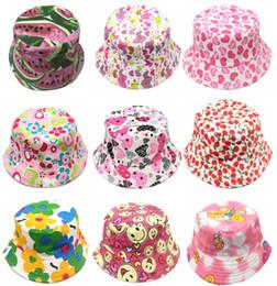cartoon flat brim hats 2019 - Cartoon Baby Bucket Hat Cute Fruit Flower Print Kids Sun Hat Creative Child Canvas Wide Brim Outdoor Beach Cap TTA835 ch